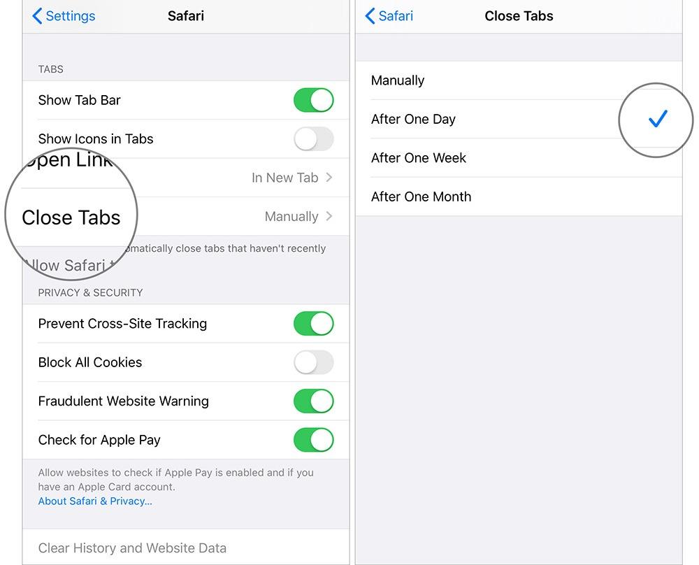 Applying Auto Close Tabs in Safari on iPad or iPhone