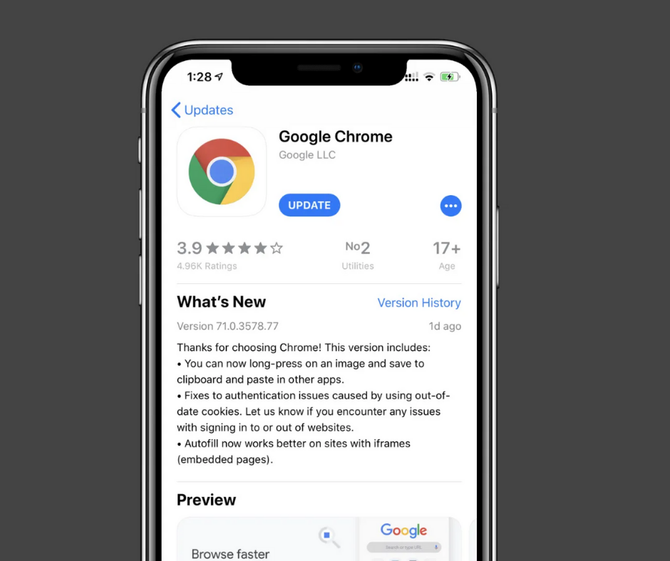 Update Google Chrome manually for iOS