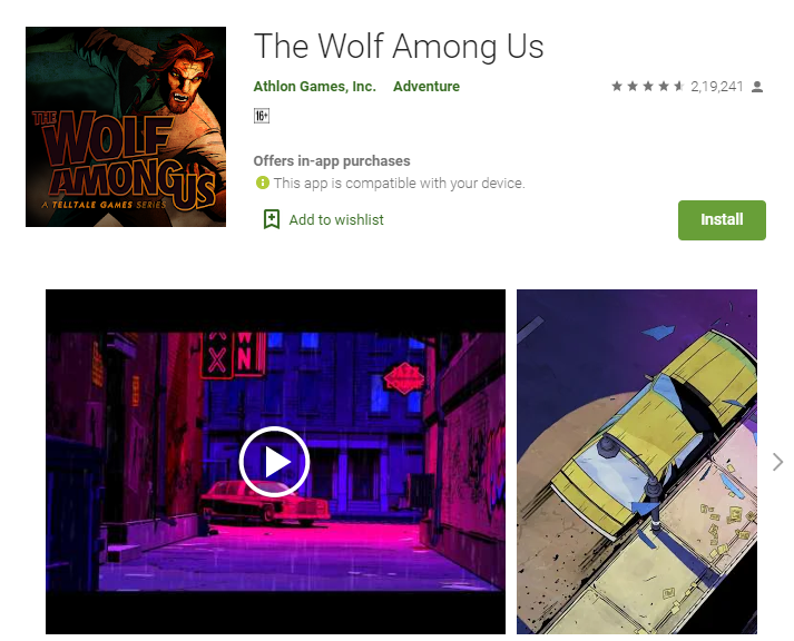 Best Adventure Games For Android | The Wolf Among Us