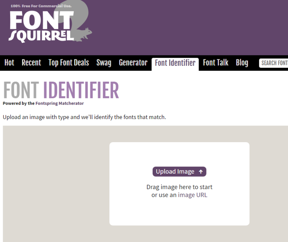 Steps to identify fonts in an image with Font Squirrel