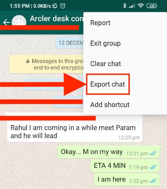 Tap on more- Whats app chat export