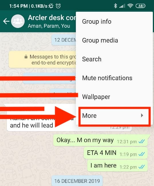 Tap on export chat option -whatsapp