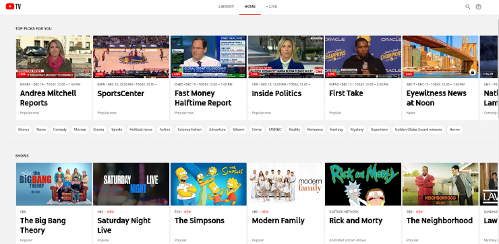 YouTube TV guide now shows 7 days of upcoming programs instead of a few hours
