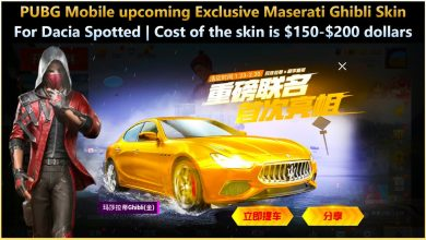 Photo of Maserati Ghibli Skin for Dacia Spotted in PUBG Mobile